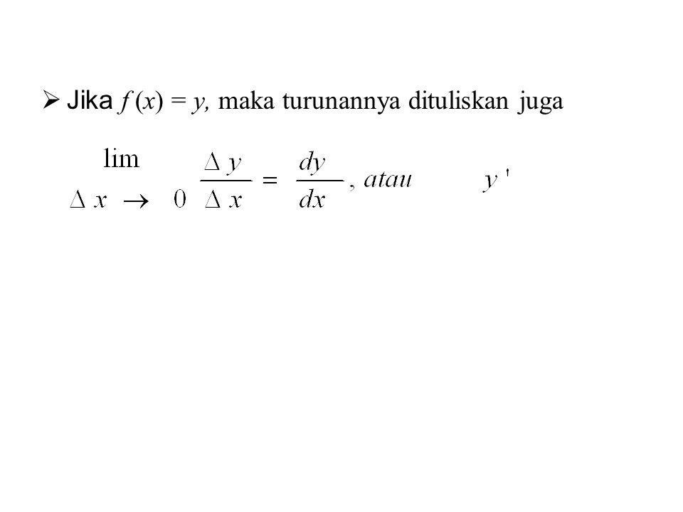 Jika f (x) = y, maka turunannya dituliskan juga