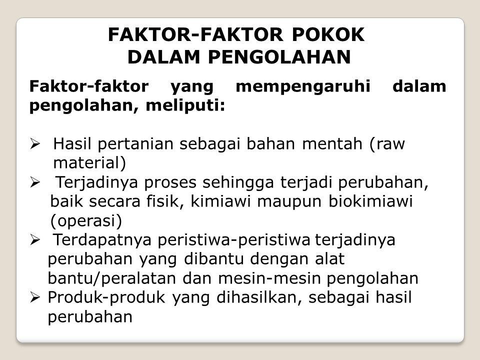 FAKTOR-FAKTOR POKOK DALAM PENGOLAHAN