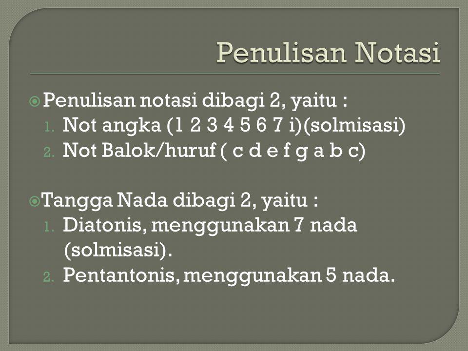 Penulisan Notasi Penulisan notasi dibagi 2, yaitu :
