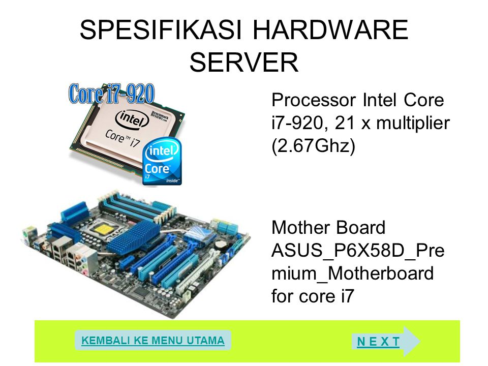 SPESIFIKASI HARDWARE SERVER