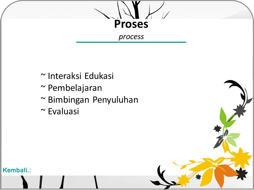 Proses process ~ Interaksi Edukasi ~ Pembelajaran ~ Bimbingan Penyuluhan ~ Evaluasi Kembali.: