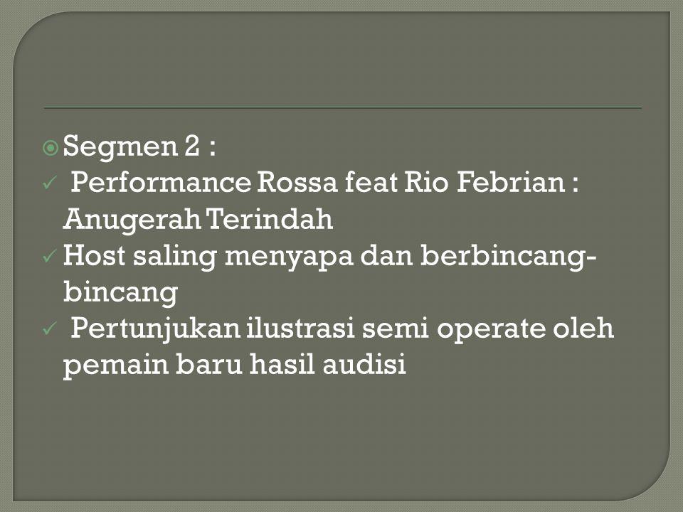 Segmen 2 : Performance Rossa feat Rio Febrian : Anugerah Terindah. Host saling menyapa dan berbincang-bincang.