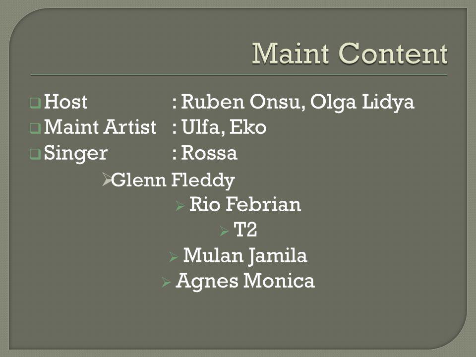 Maint Content Host : Ruben Onsu, Olga Lidya Maint Artist : Ulfa, Eko