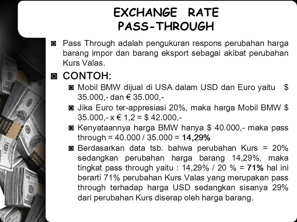 EXCHANGE RATE PASS-THROUGH