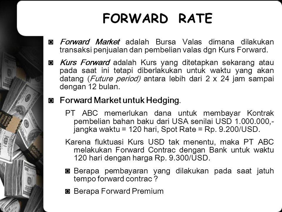 FORWARD RATE Forward Market untuk Hedging.