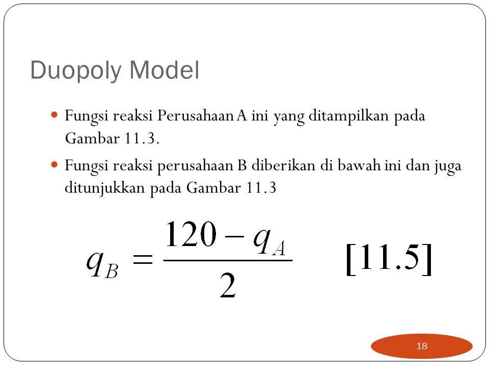Duopoly Model Fungsi reaksi Perusahaan A ini yang ditampilkan pada Gambar 11.3.