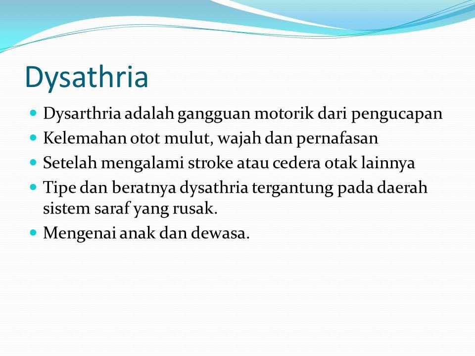 Dysathria Dysarthria adalah gangguan motorik dari pengucapan