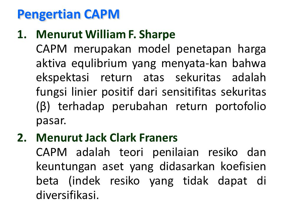 Pengertian CAPM Menurut William F. Sharpe
