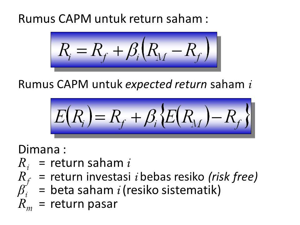 Rumus CAPM untuk return saham :