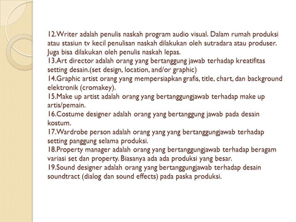 12. Writer adalah penulis naskah program audio visual