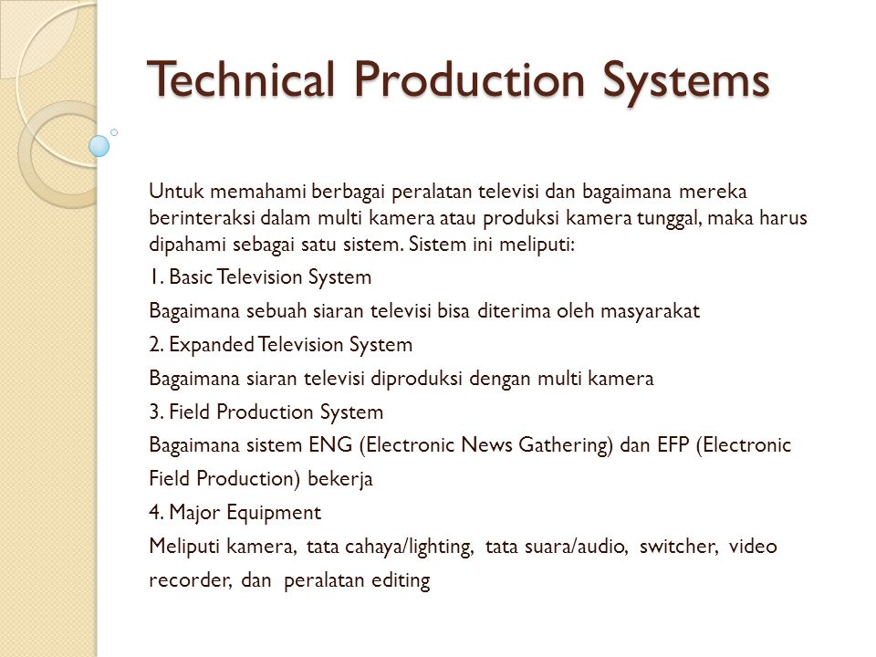 Technical Production Systems