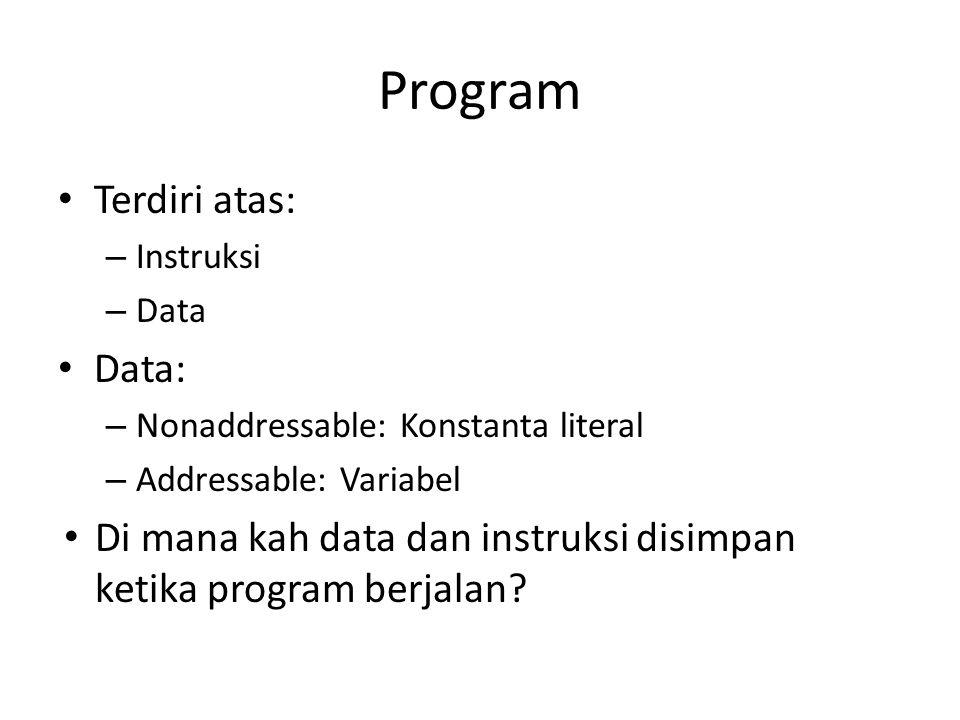 Program Terdiri atas: Data: