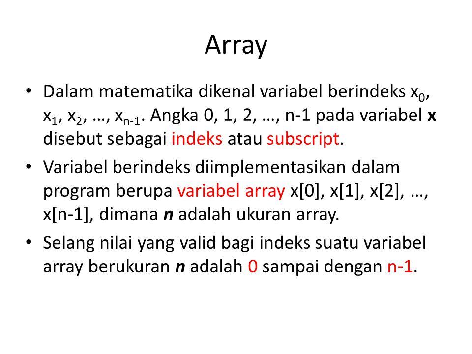Array Dalam matematika dikenal variabel berindeks x0, x1, x2, …, xn-1. Angka 0, 1, 2, …, n-1 pada variabel x disebut sebagai indeks atau subscript.