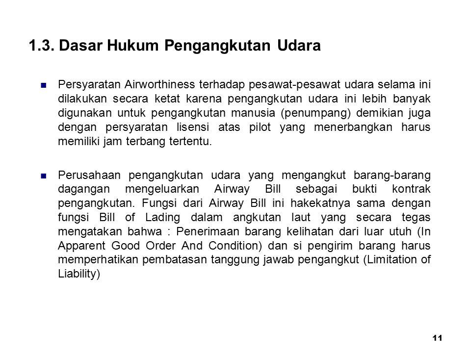 1.3. Dasar Hukum Pengangkutan Udara