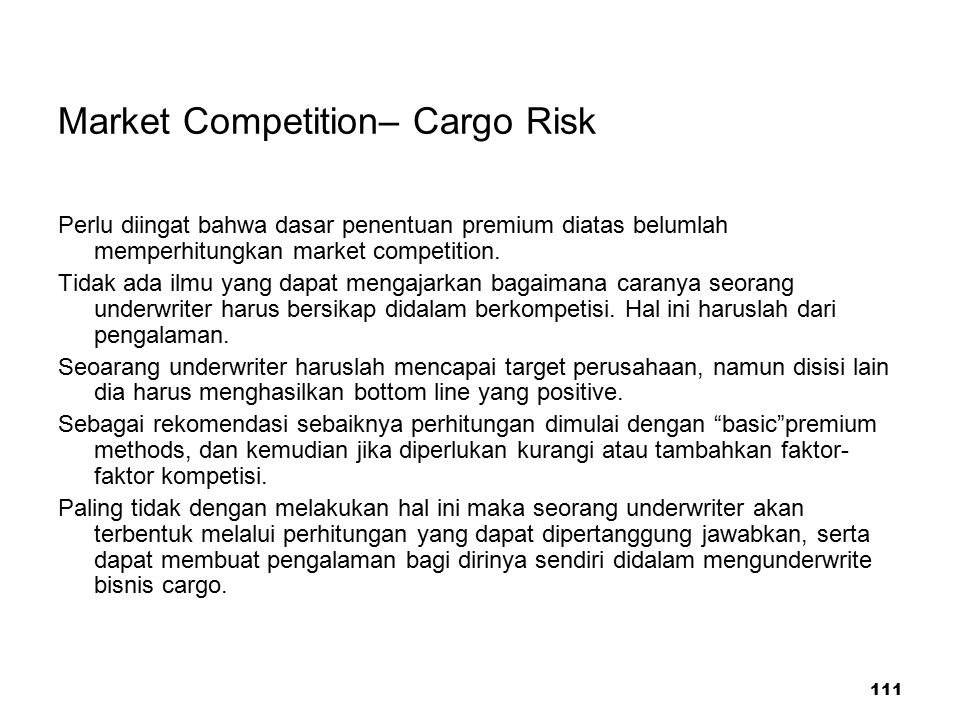 Market Competition– Cargo Risk