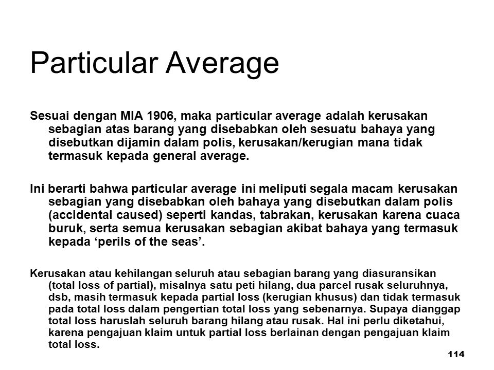 Particular Average
