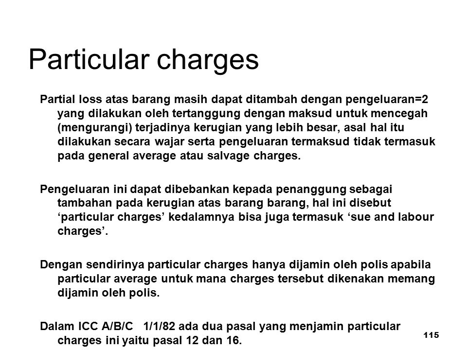 Particular charges
