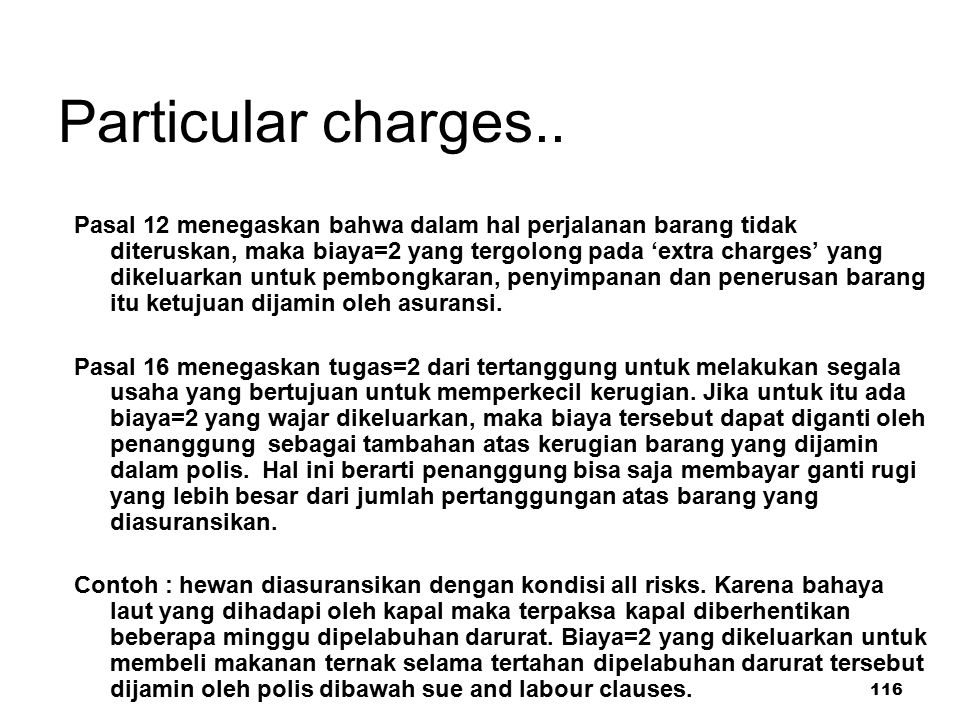 Particular charges..