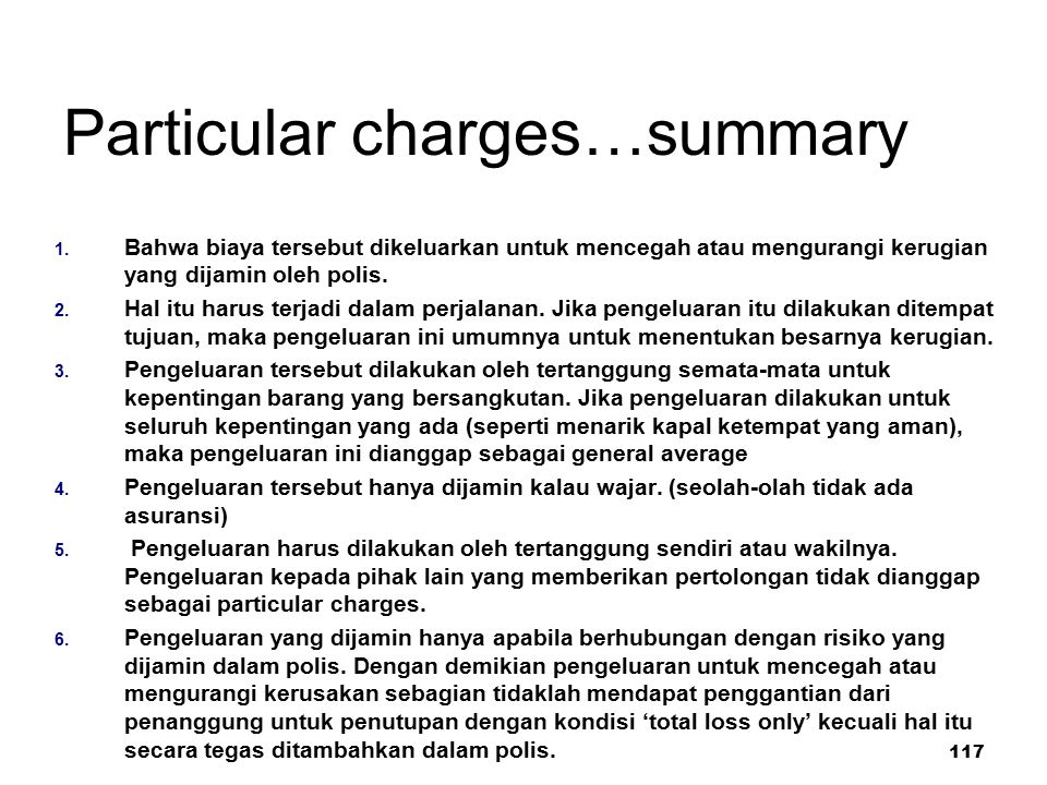 Particular charges…summary