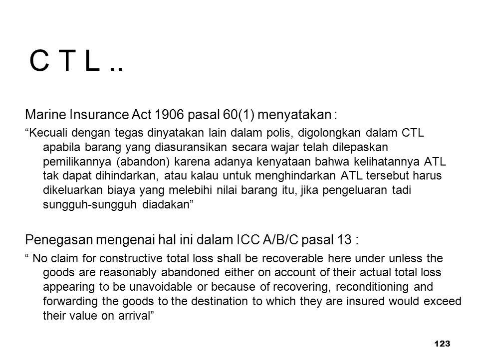 C T L .. Marine Insurance Act 1906 pasal 60(1) menyatakan :