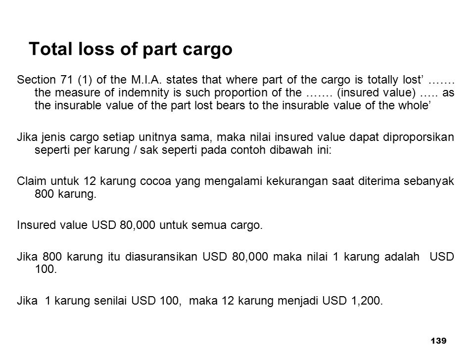 Total loss of part cargo