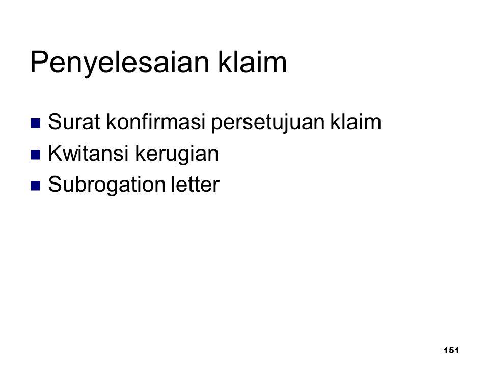 Penyelesaian klaim Surat konfirmasi persetujuan klaim