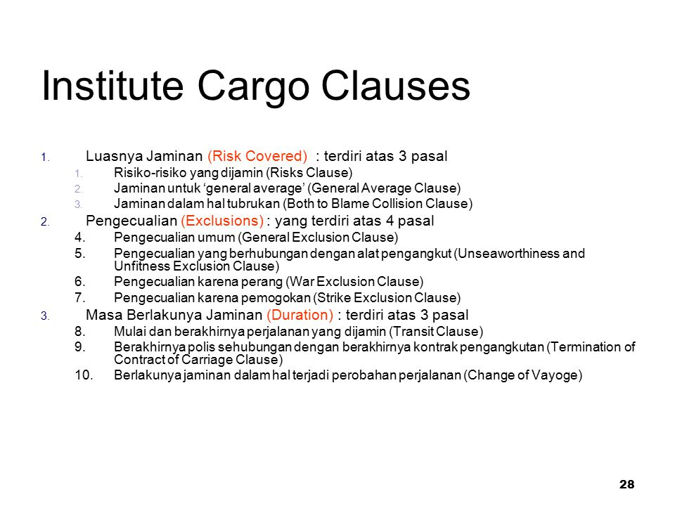 Institute Cargo Clauses