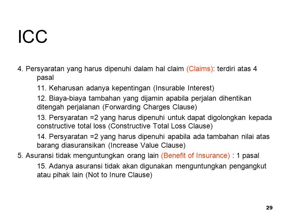 ICC 4. Persyaratan yang harus dipenuhi dalam hal claim (Claims): terdiri atas 4 pasal. 11. Keharusan adanya kepentingan (Insurable Interest)