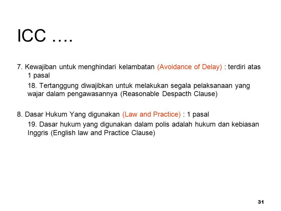 ICC …. 7. Kewajiban untuk menghindari kelambatan (Avoidance of Delay) : terdiri atas 1 pasal.