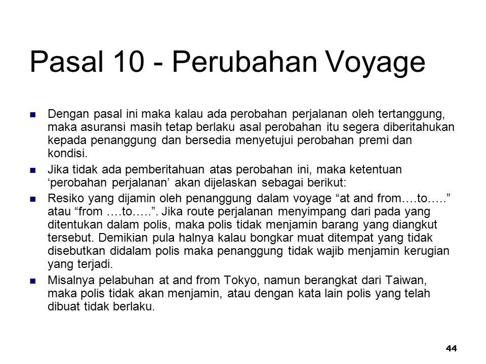 Pasal 10 - Perubahan Voyage