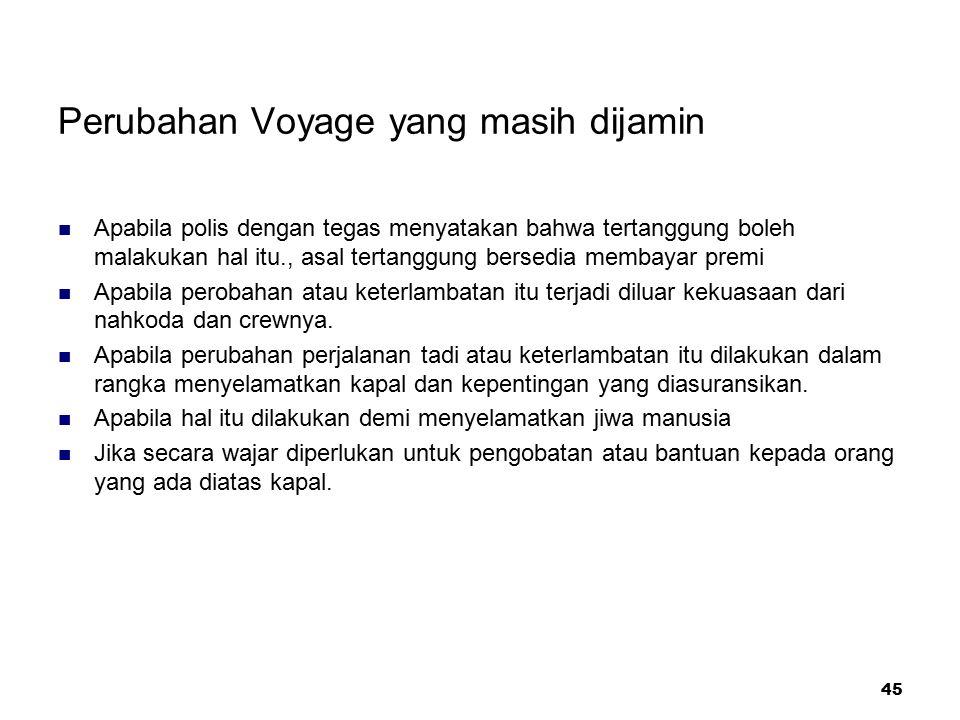 Perubahan Voyage yang masih dijamin