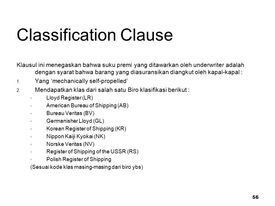 Classification Clause