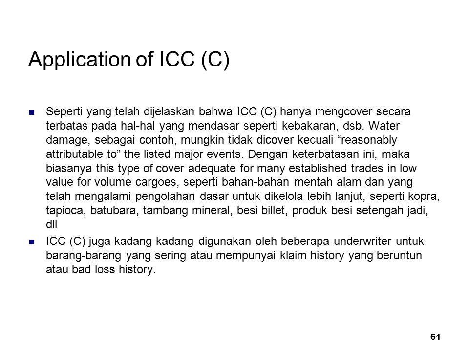 Application of ICC (C)