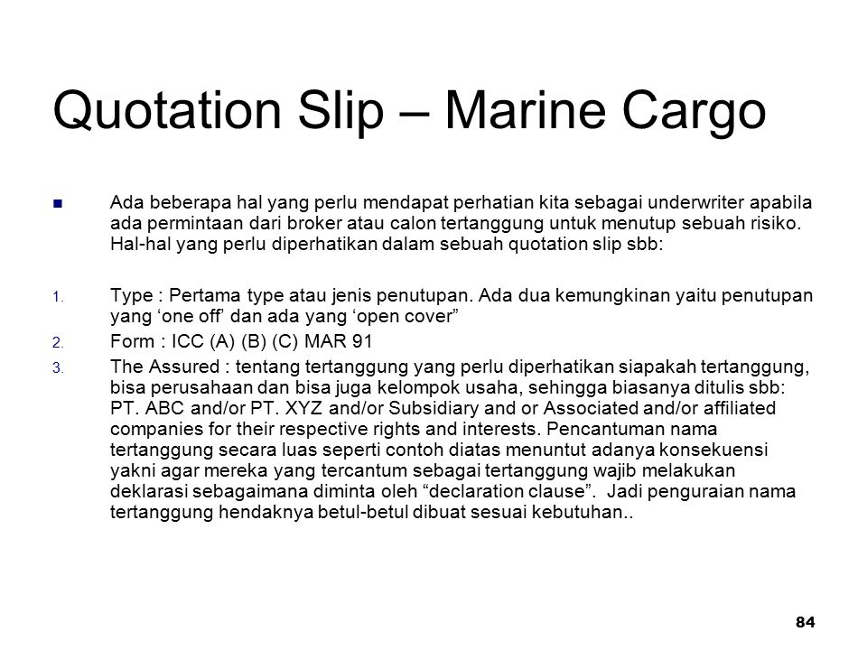 Quotation Slip – Marine Cargo