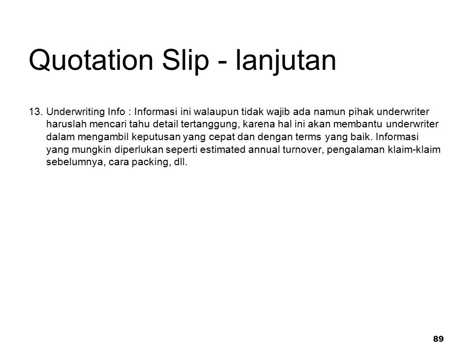 Quotation Slip - lanjutan