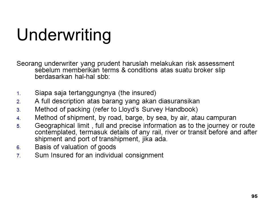 Underwriting