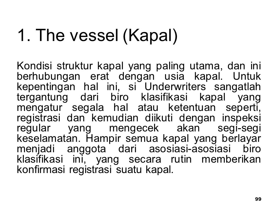 1. The vessel (Kapal)