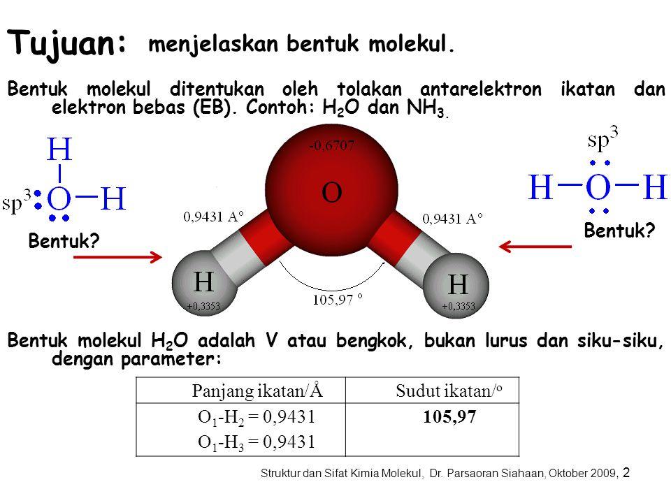 Tujuan: menjelaskan bentuk molekul.