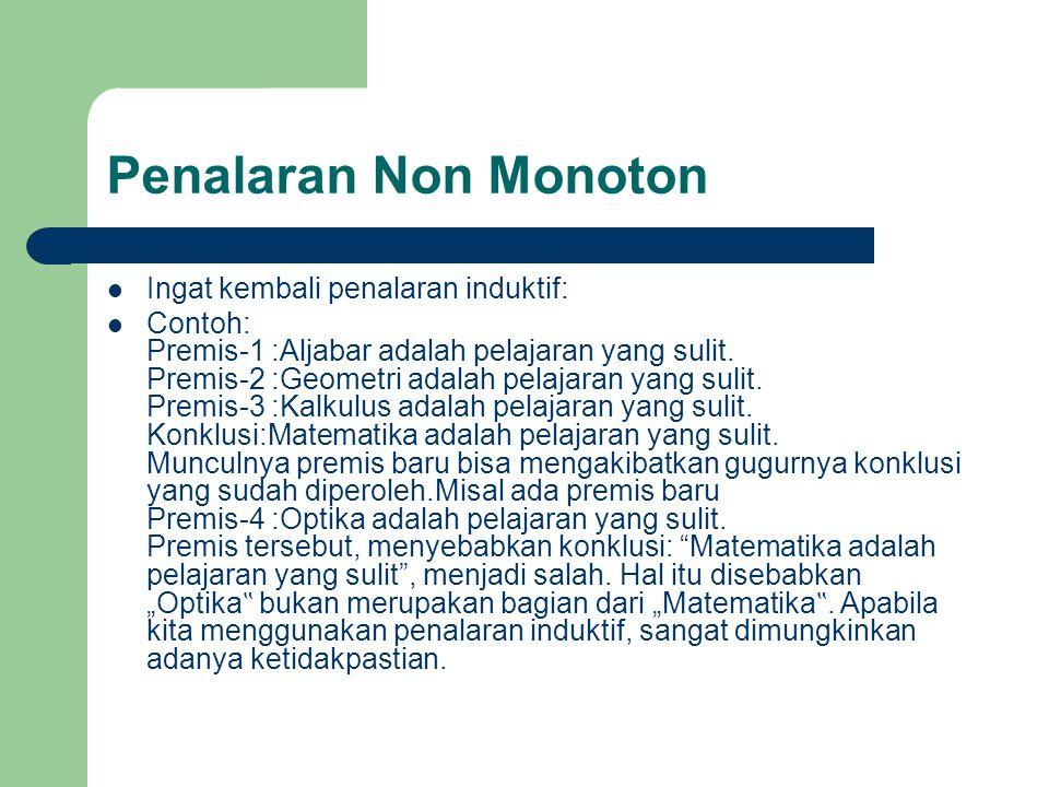 Penalaran Non Monoton Ingat kembali penalaran induktif: