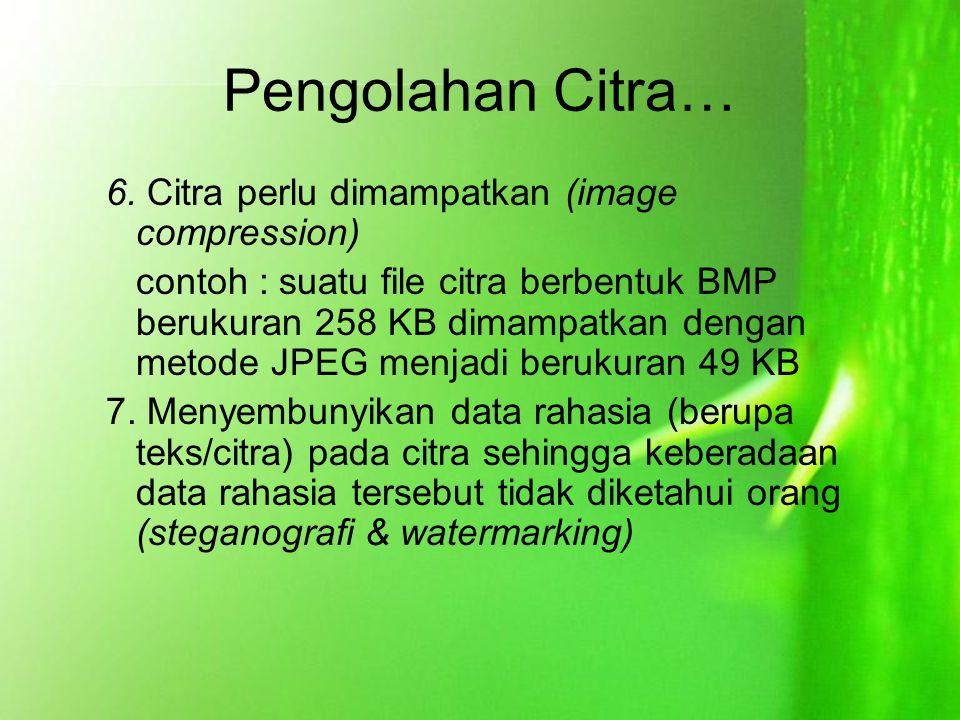Pengolahan Citra… 6. Citra perlu dimampatkan (image compression)