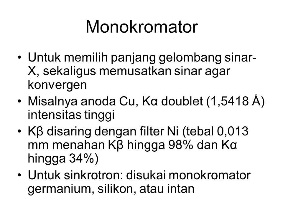 Monokromator Untuk memilih panjang gelombang sinar-X, sekaligus memusatkan sinar agar konvergen.