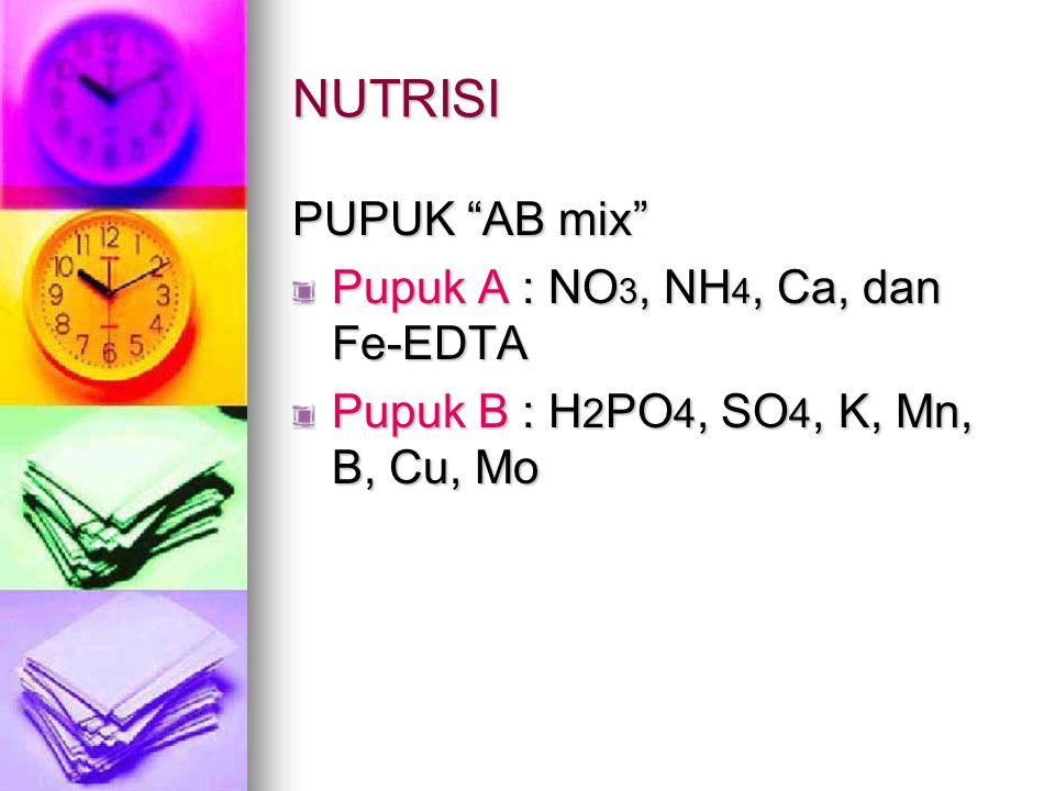 NUTRISI PUPUK AB mix Pupuk A : NO3, NH4, Ca, dan Fe-EDTA