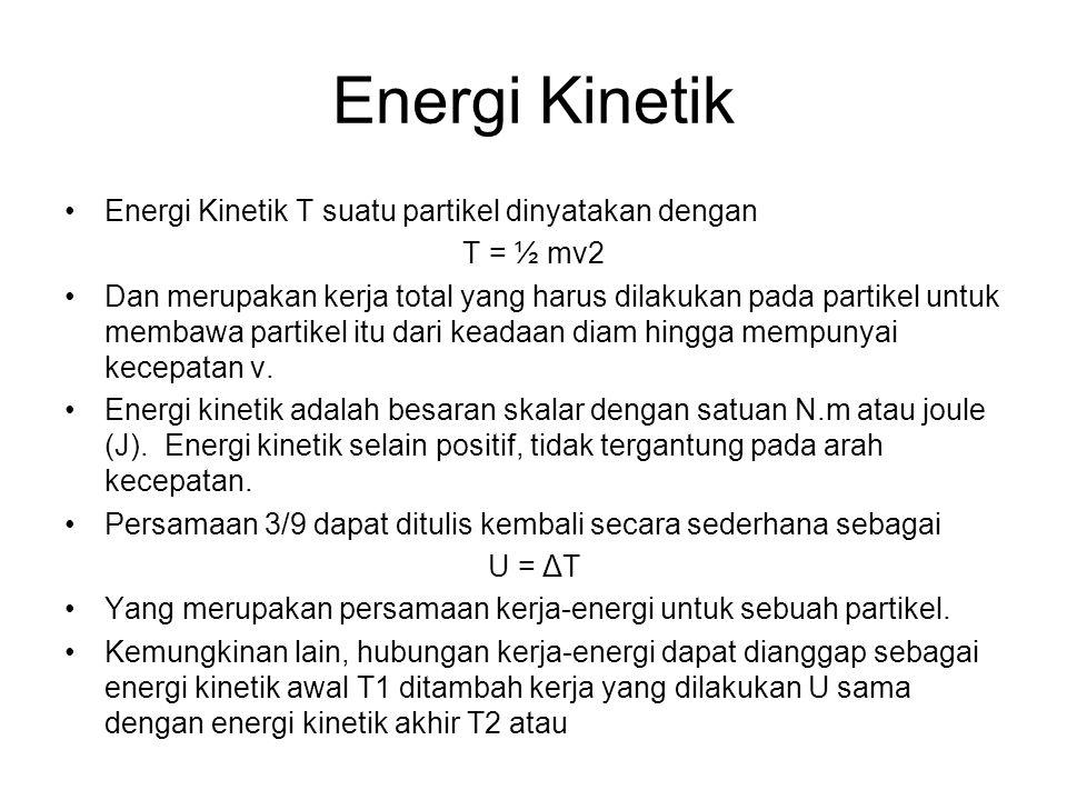 Energi Kinetik Energi Kinetik T suatu partikel dinyatakan dengan