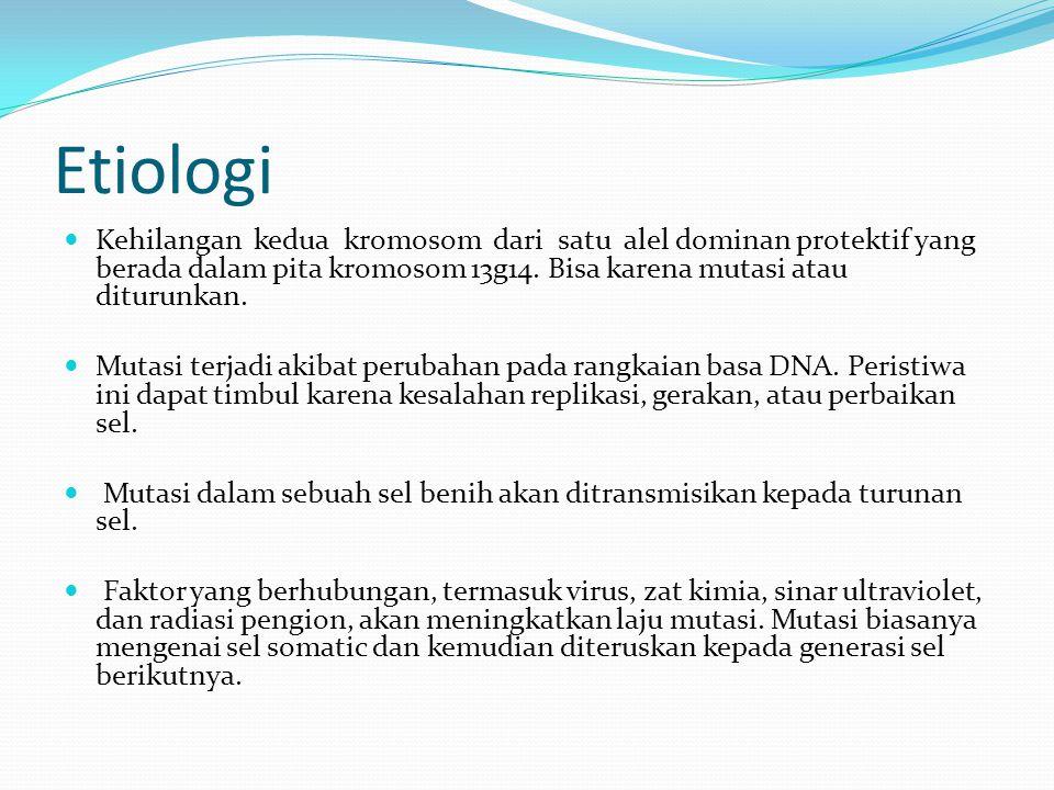 Etiologi Kehilangan kedua kromosom dari satu alel dominan protektif yang berada dalam pita kromosom 13g14. Bisa karena mutasi atau diturunkan.