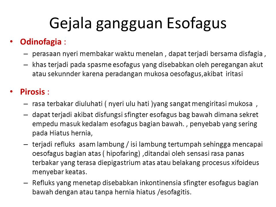 Gejala gangguan Esofagus