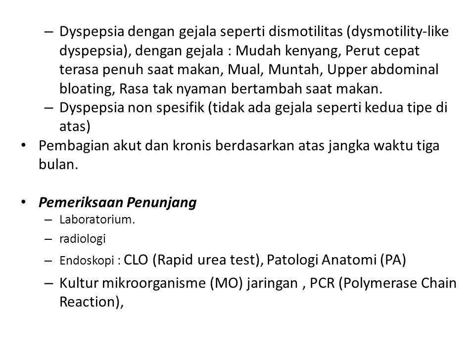 Dyspepsia non spesifik (tidak ada gejala seperti kedua tipe di atas)
