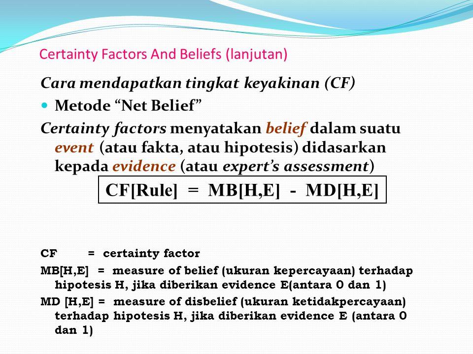 Certainty Factors And Beliefs (lanjutan)