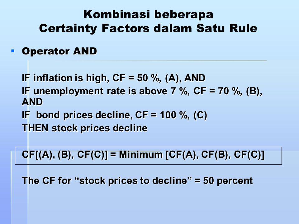 Kombinasi beberapa Certainty Factors dalam Satu Rule