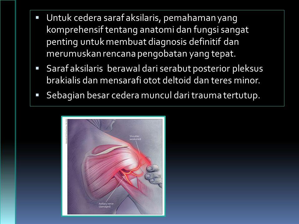 Untuk cedera saraf aksilaris, pemahaman yang komprehensif tentang anatomi dan fungsi sangat penting untuk membuat diagnosis definitif dan merumuskan rencana pengobatan yang tepat.