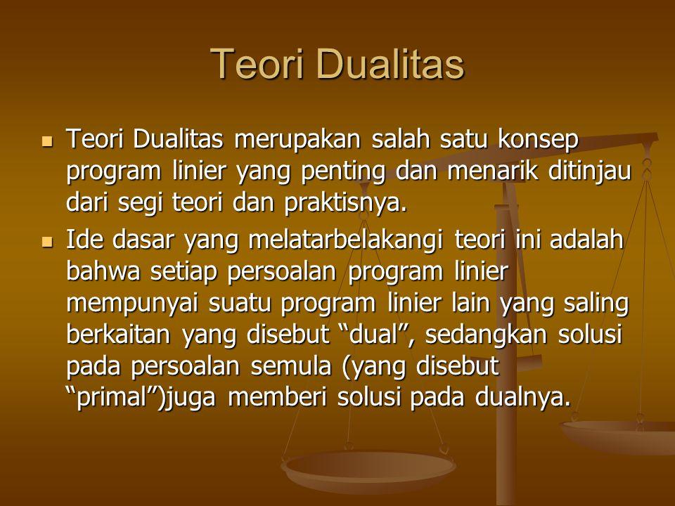 Teori Dualitas Teori Dualitas merupakan salah satu konsep program linier yang penting dan menarik ditinjau dari segi teori dan praktisnya.